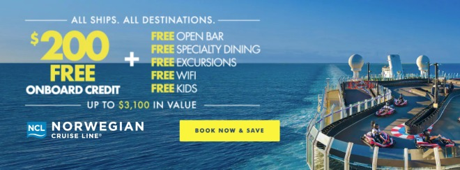 All Ships. All Destinations. $200 Free onboard credit PLUS Free Open Bar, Free Specialty Dining, Free Excursions, Free Wifi, Free Kids. Up to $3,100 in value. Norwegian Cruise Line. Click to learn more.