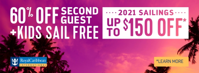 Royal Caribbean | 60% Off Second Guest + Kids Sail Free + Up to $150 Off 2021 Sailings