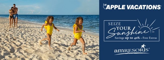 Apple Vacations: Seize Your Sunshine Savings up to 40% Plus Free Extras with AMResorts. Terms and conditions apply. Click for details