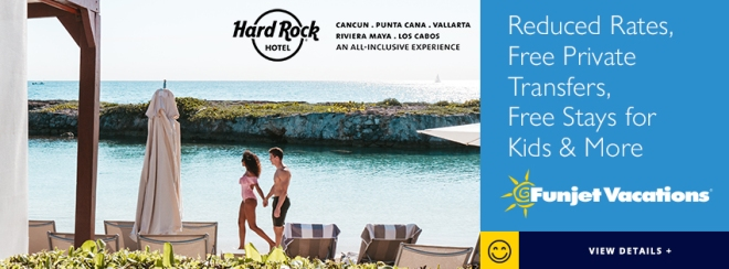 Funjet Vacations: Hard Rock Hotel. Reduced Rates, Free Private Transfers, Free Stays for Kids & More. Terms and conditions apply. Click to learn more.