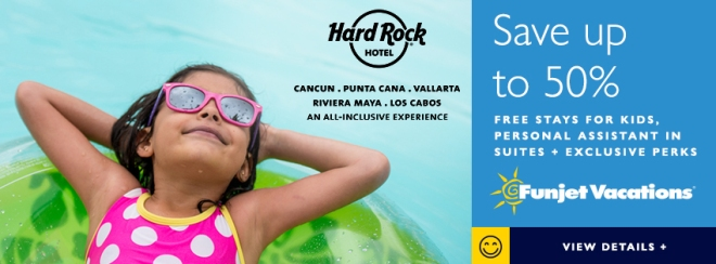 Hard Rock Hotel: Save up to 50% Free stays for kids, personal assistant in suites plus exclusive perks. Funjet Vacations. Terms and conditions apply. Click to learn more.