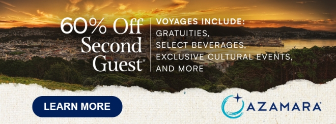 Azamara: 60% off Second Guest. Voyages include: Gratuities, Select Beverages, Exclusive Cultural Events, and more. Terms and conditions apply. Click to learn more.