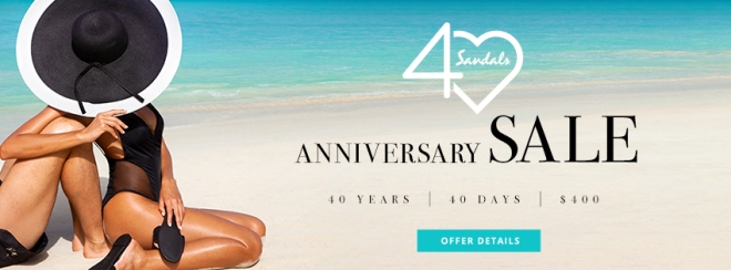 Sandals: 40th Anniversary Sale. Click to learn more