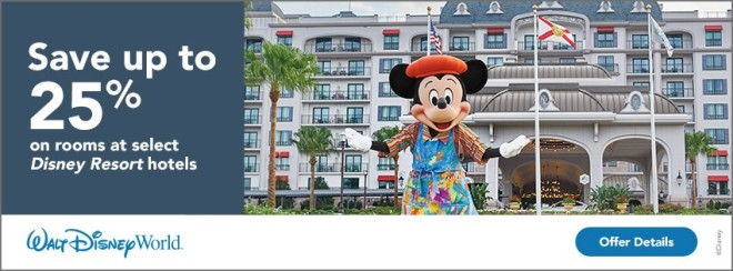 Walt Disney World: Save up to 25% on rooms at select Disney Resort hotels. Terms and conditions apply. Click for details.