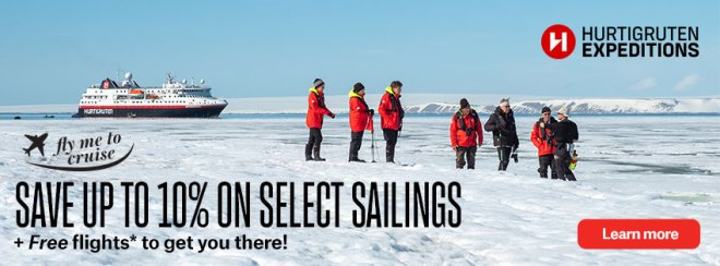 Hurtigruten Expeditions: Fly me to a cruise: save up to 10% on select sailings PLUS free flights* to get you there! Terms and conditions apply. Click to learn more